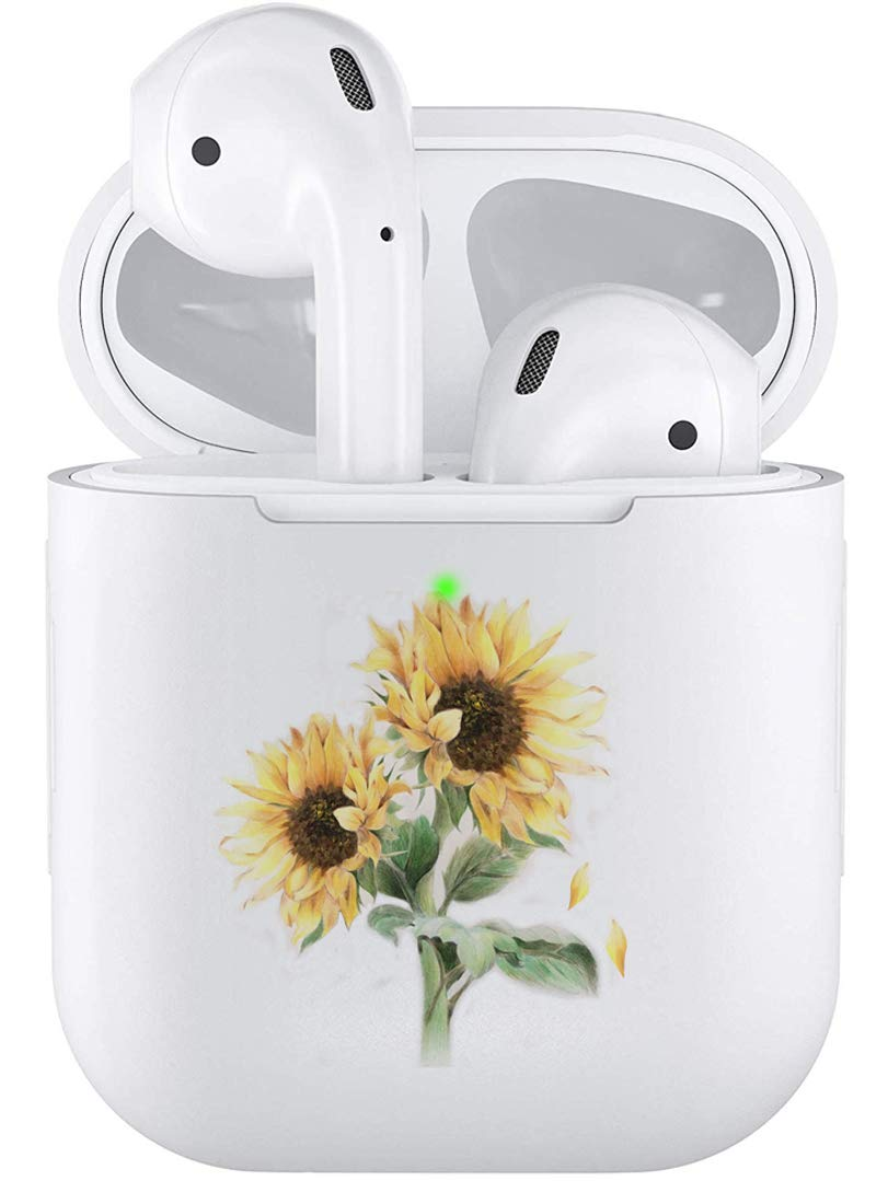 Air Pods Case, Silicone TPU Cute Accessories Holder Case Cover Skin Keychain Compatible with Airpods Air Pods 1 2 Sunflower Flower