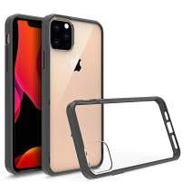 Olixar for iPhone 11 Pro Bumper Case - Hard Tough Cover - Crystal Clear Back - Wireless Charging Compatible - ExoShield - Shock Protection - Black/Transparent