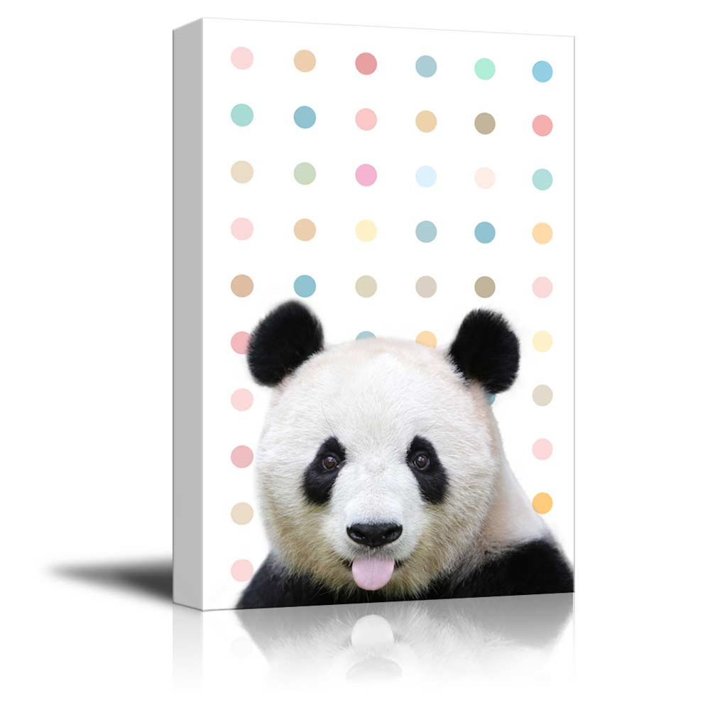 wall26 - Peekaboo Animals Canvas Wall Art - Cute Panda Sticking Its Tongue Out on Colorful Dots Background - Gallery Wrap Modern Home Decor | Ready to Hang - 12x18 inches
