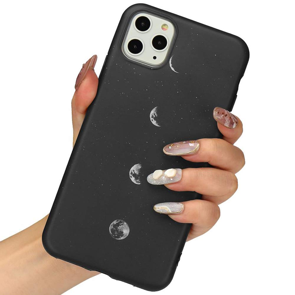LLZ.COQUE for iPhone 11 Pro Max Case, Moon Lunar Eclipse Black Silicone Slim-Fit Anti-Scratch Anti-Finger Print Shock Proof Smooth Soft TPU Gel Case for iPhone 11 Pro Max