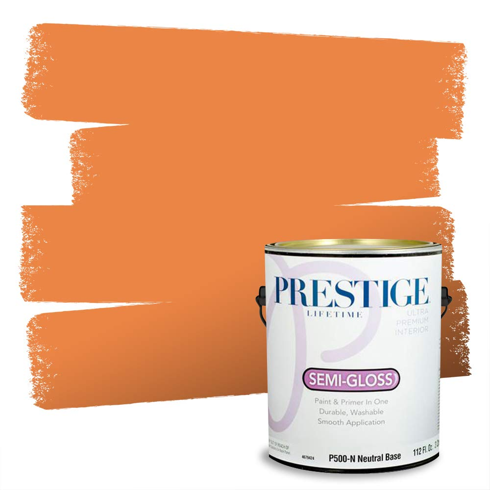 PRESTIGE, Browns and Oranges 1 of 7, Interior Paint and Primer In One, 1-Gallon, Semi-Gloss, Tuscan Sunset