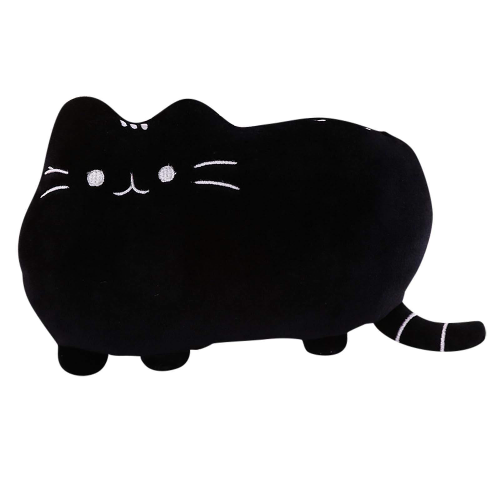 Sdeycui Cute Dinosaur Stuffed Animals Plush Toy Pillow Doll Soft Lumbar Back Cushion Gift for Kids (Black Cat, 6.69'')