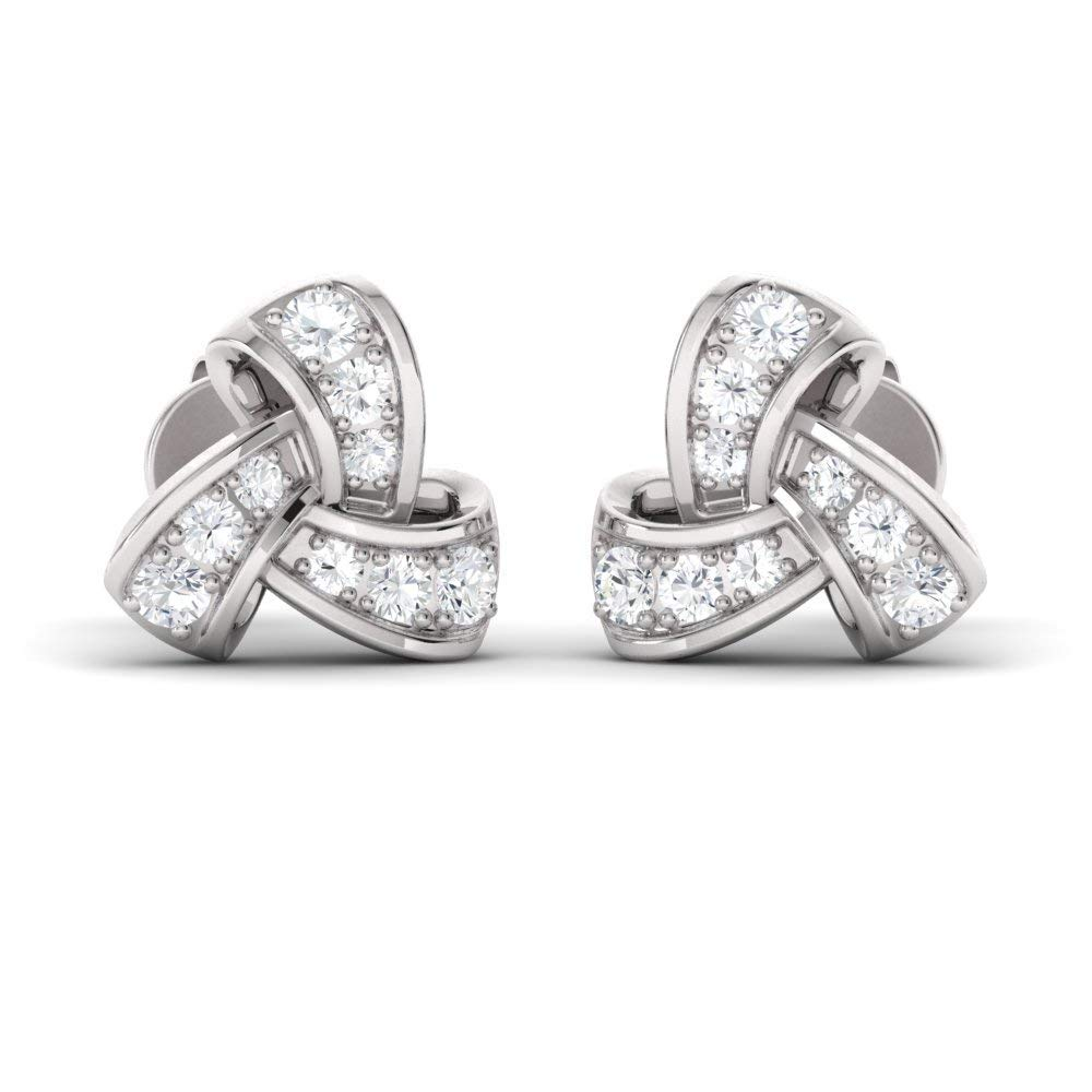 Diamondere Natural and Certified Diamond and Gemstone Trinity Knot Earrings in 14K White Gold | 0.45 Carat Stud Earrings for Women