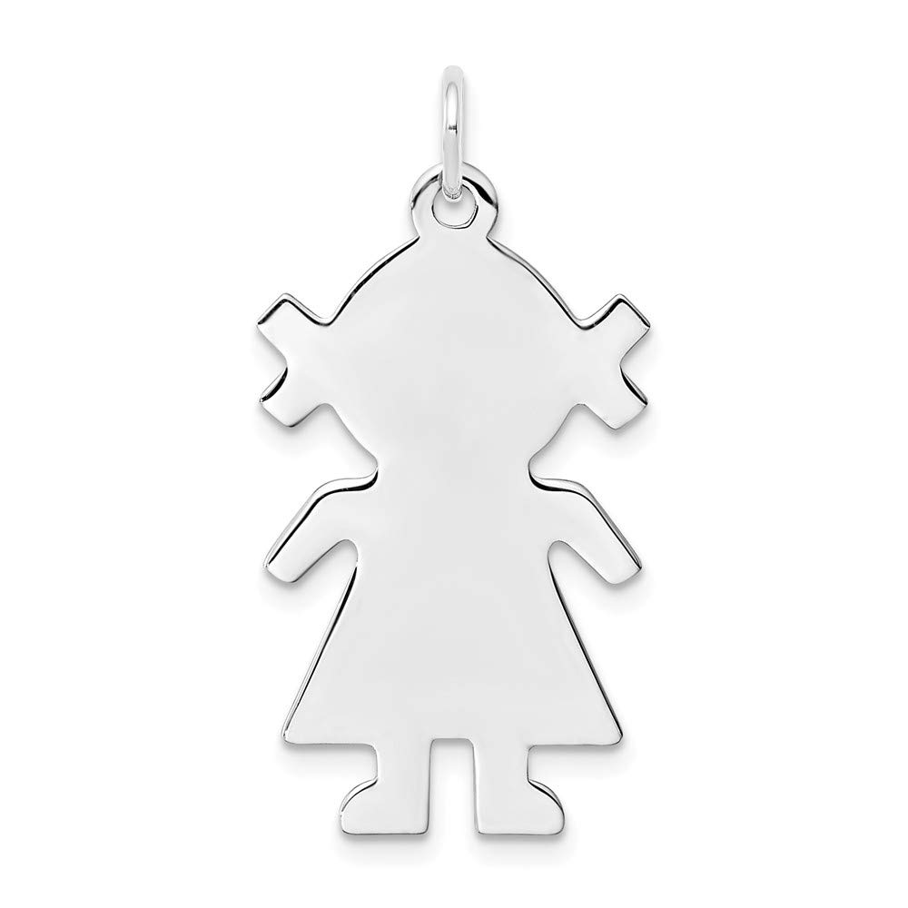 925 Sterling Silver Rhod Plated Eng. Girl Front Back Disc Pendant Charm Necklace Engravable Facing Plain Fine Jewelry For Women Gifts For Her
