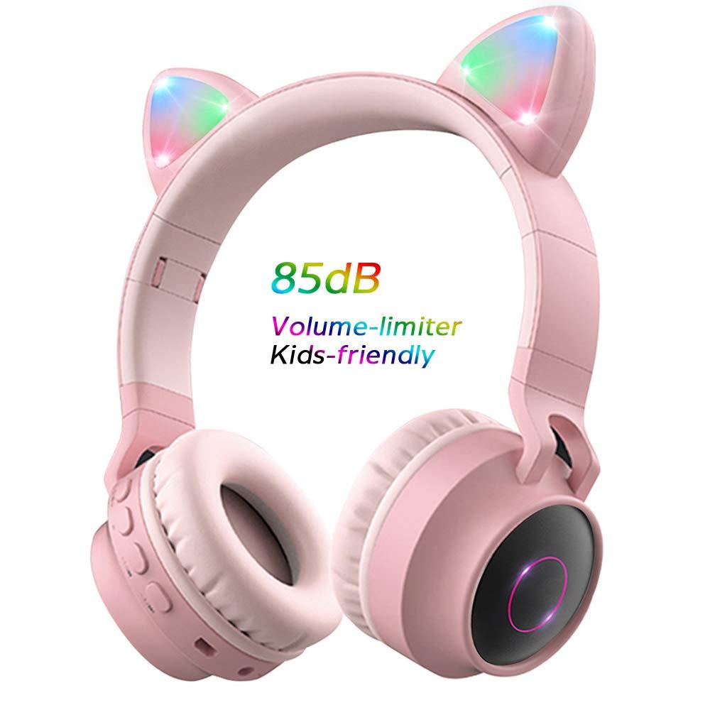 Wireless Bluetooth Kids Headphones, Aresrora Kitty Bluetooth Over Ear Headphones 85dB Volume Limiting,LED Lights, FM Radio, TF Card, Aux, Mic for iPhone/iPad/Kindle/Laptop/PC/TV (Pink)