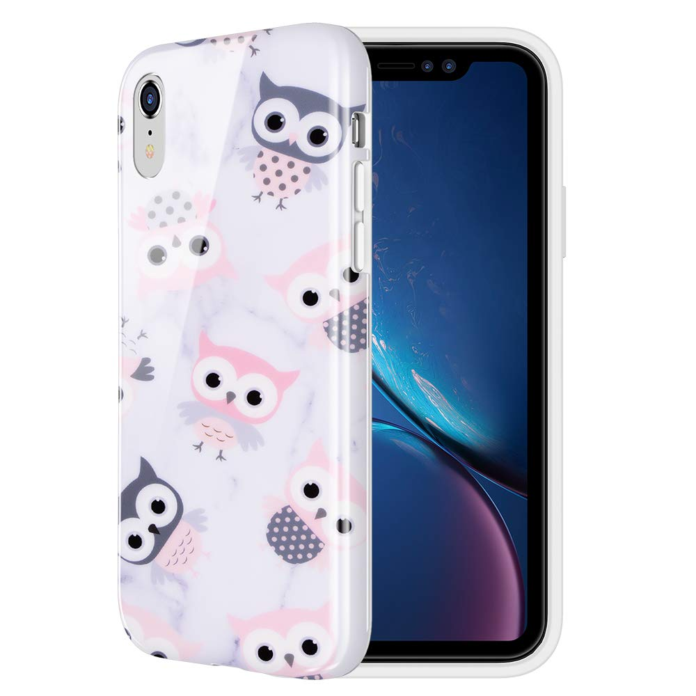 Caka Case for iPhone XR Marble Case Owl Pattern Slim Anti Scratch Shockproof Luxury Fashion Silicone Soft Rubber TPU Protective Case for iPhone XR (6.1 inch) (Owl)