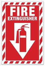 """ZING 1887 Zing Safety Sign, Fire Extinguisher with Picto, 10"""" Height x 7"""" Width, Recycled Plastic, White on Red"""