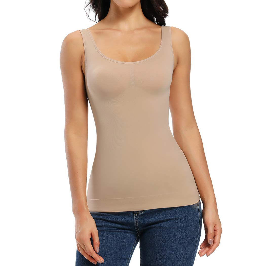 WOWENY Shapewear Tank top for Women Tummy Control Camisole with Built in Bra Body Shaping cami