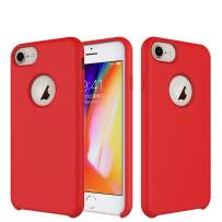 TIAMAT iPhone 8 Case/iPhone 7 Case/iPhone 6 Case, Soft Touch, Comfortable Grip, Slim Fit, Liquid Silicone Case with Microfiber Cloth Lining Cushion (Red)