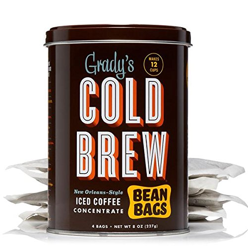 Grady's Cold Brew Coffee, 1 Storage Can with 4 Bean Bags, Regular