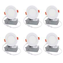 GO JOIN LED 4 Inch Recessed Lighting with Junction Box, 9W 750lm Dimmable Recessed Ceiling Light, ETL & Energy Star Certified Downlight, 5000K Daylight, Pack of 6