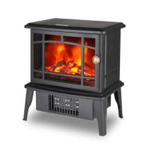 "Climate Choice Mini Fireplace Heater, 10"" 500W Electric Antique Stove Fireplace Heater"