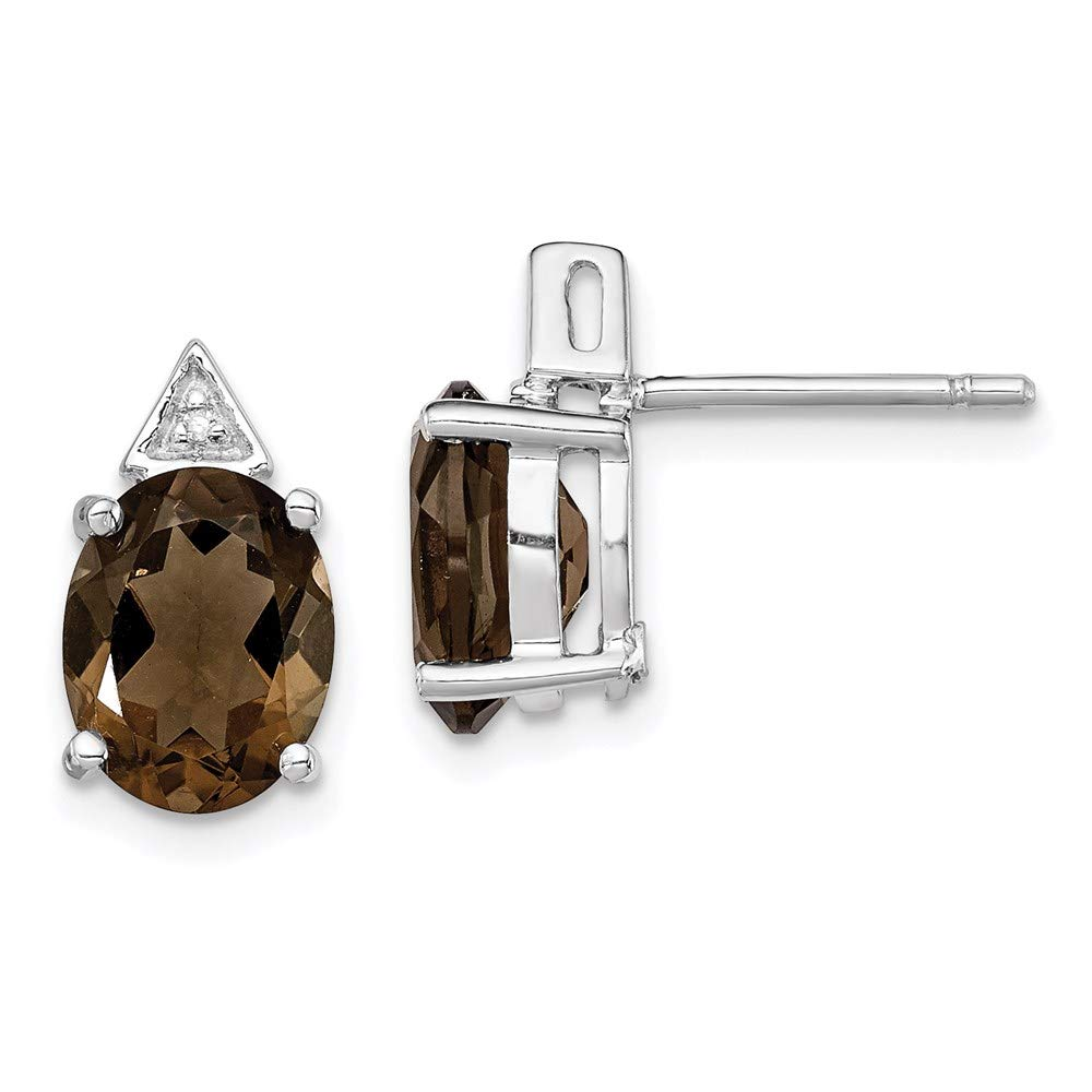 925 Sterling Silver Smoky Quartz Diamond Post Stud Earrings Ball Button Fine Mothers Day Jewelry For Women Gifts For Her