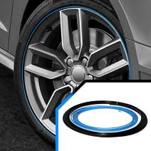 Upgrade Your Auto Wheel Bands Sky Blue Insert in Black Track Pinstripe Protective Rim Trim Curb Rash Guard