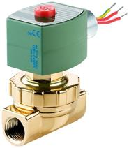 """ASCO 8220G404 -120/60,110/50 Brass Body Hot Water and Steam Pilot Operated Diaphragm and Piston Valve, 50 psi Maximum Steam Operating Pressure, 1/2"""" Pipe Size, 2-Way Normally Closed, EPDM/PTFE Sealing"""