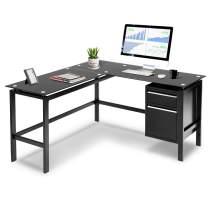 INVIE L-Shaped Desk with Drawers Corner Computer Desk PC Laptop Table Workstation Glass Desktop Home Office Desk, Black