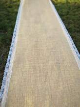 HUAHOO 40 inch×75FT Burlap and Ivory Lace Wedding Aisle Runner for Indoor/Outdoor Wedding Beach Wedding Decorations