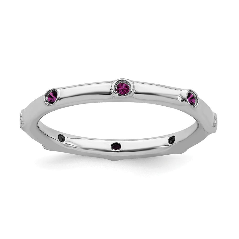 925 Sterling Silver Rhodolite Red Garnet Band Ring Stone Stackable Gemstone Birthstone June Fine Mothers Day Jewelry For Women Gifts For Her