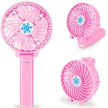 Portable Handheld Fan Battery Operated, Mini Personal Travel Fan Rechargeable with LED Emergency Light , 3 Speeds, Strong Airflow, Folding Design ,for Women and Teenager Outdoor Activities (Light pin