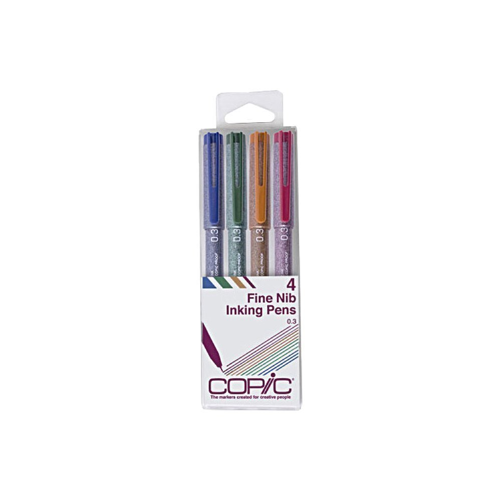 Copic Markers Multiliner Color Pigment Based Ink, 4-Piece Set (MLCLR03)
