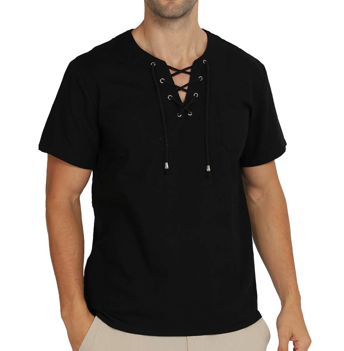 WULFUL Men's Casual Short Sleeve Hippie Summer Beach Yoga Shirts Cotton Fashion T-Shirt