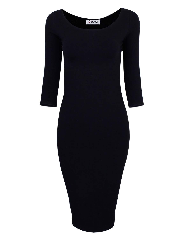 TAM WARE Womens Classic Slim Fit Bodycon Midi Dress