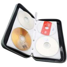 Watruer CD Case, 80 Capacity DVD Storage DVD Case Holder VCD Wallet Organizer Protective Hard Plastic Portable Case Cover - Black
