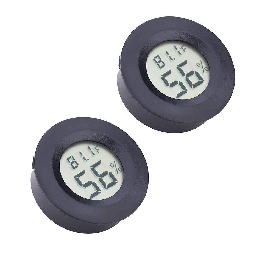 [2 PACK] Digital Instant Read Thermometer Hygrometer, TIAMAT Indoor Temperature Humidity Meter Detector, Electronic Thermometer for Kitchen, Indoor Garden, Cellar, Fridge, Closet - Black