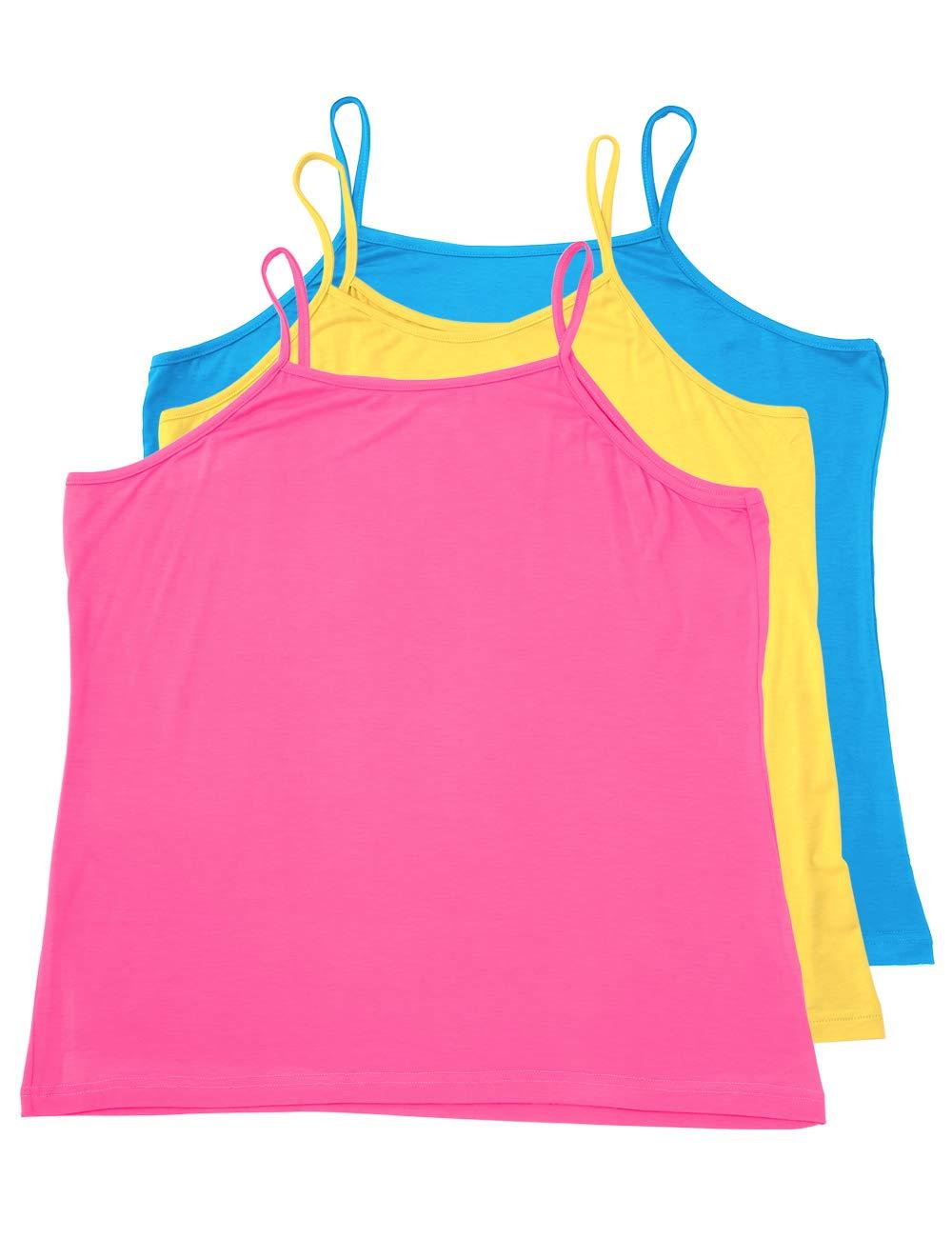 VIKIDEER 3 Pack Camisole for Women Plus Size Basic Undershirt Spaghetti Strap Cami Tank Top