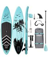 """Cooyes Inflatable Stand Up Paddle Board 10'6"""" with Free Premium SUP Accessories & Backpack, Non-Slip Deck. Bonus Waterproof Bag, Leash, Paddle and Hand Pump"""