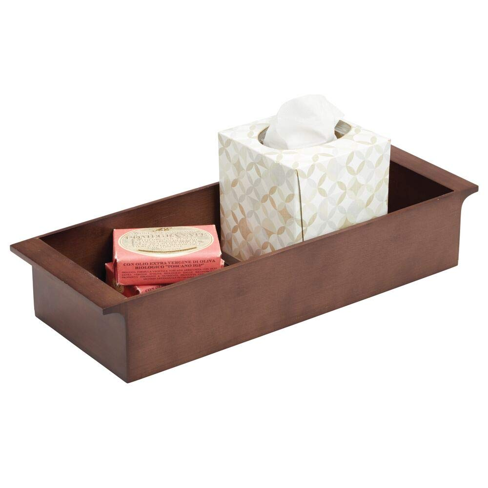 """mDesign Deep Bamboo Storage Organizer Tray Bin with Handles, Eco-Friendly, Multipurpose; Use on Bathroom Vanity, Countertop, Toilet Tank - Stackable, 16"""" Wide - Brown Wood Finish"""