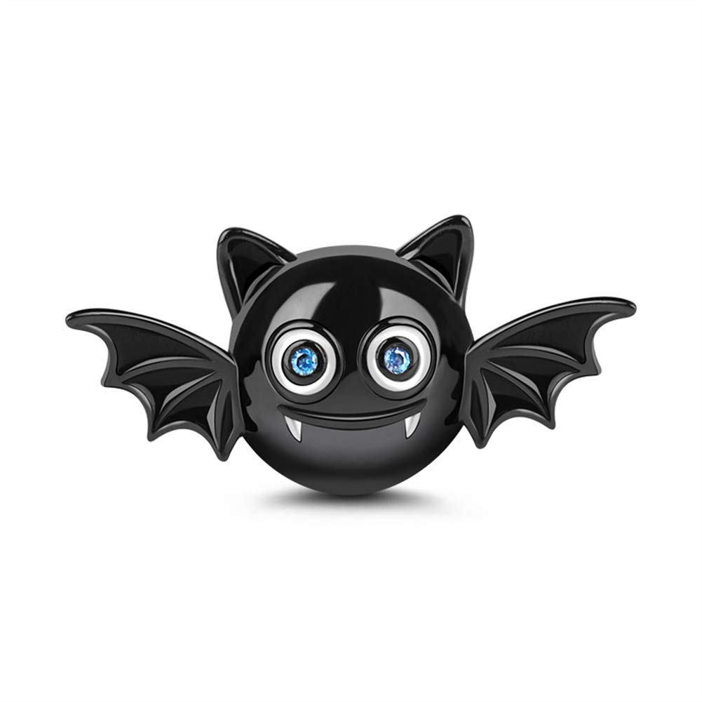 GNOCE Adorable Evil Bat Charm Bead Sterling Silver Black Plated Women Bat Bead Charms fit Bracelet/Necklace Halloween Jewery Gift for Wife Daughter Friend