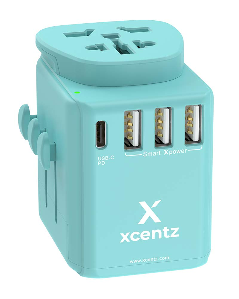 Xcentz Universal Power Adapter with 18W PD&QC 3.0 USB-C Port and 3-USB Port, 16A European Plug, 10A Wall Charger AC Plug Adapter, 3680W Travel Adapter EU UK AU US Cell Phone Tablet Laptop, Blue