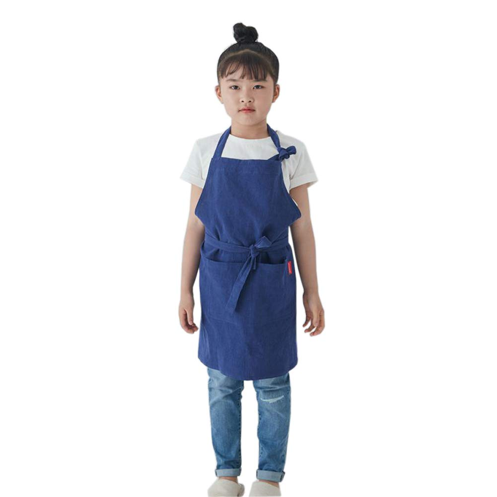 LeerKing Child's Chef Apron Linen Kids Solid Color Unisex Adjustable Bib with Pockets Kitchen for Baking Pottery Painting Gardening,Blue