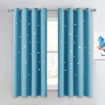 NICETOWN Kids Room Darkening Curtains 63 - Sky Wonder Hollow Star Cut Out Functional Drape Child Curtains for Bedroom/Living Room/Studio/Baby Room, 52 inches Width, Teal Blue=Light Blue, 1 Piece