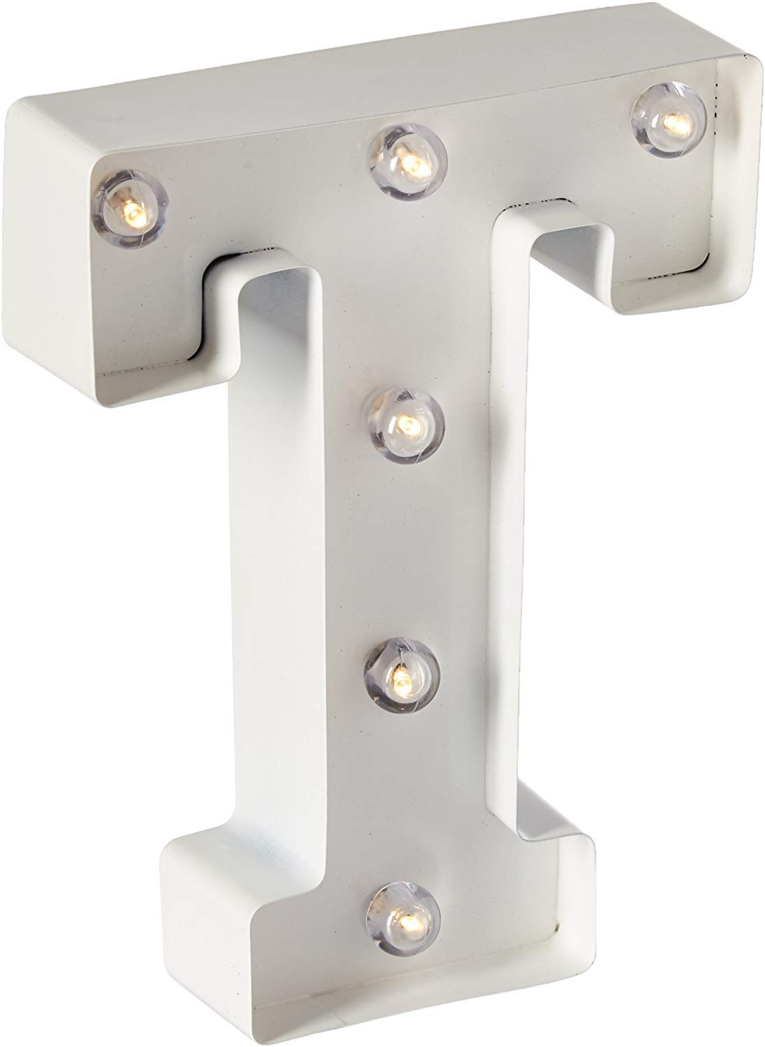 """Darice White Metal Marquee Letter – T - 9.87"""" Tall, White Finish"""