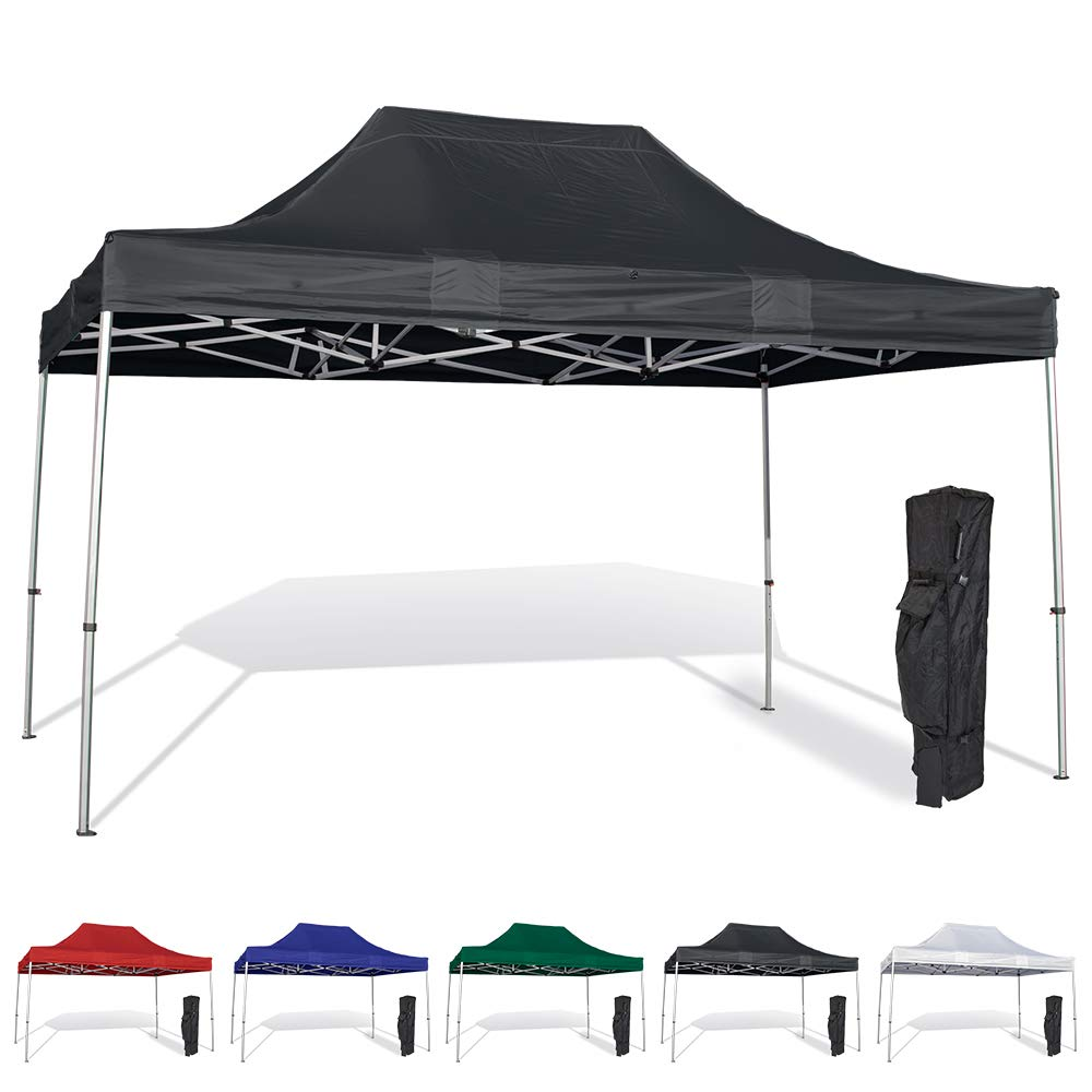 Vispronet 10x15 Instant Canopy Tent – Durable Steel Frame with Water-Resistant Polyester Fabric Top – Heavy Duty Wheeled Canopy Bag and Stake Kit Included (Black)