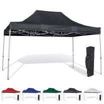 Vispronet 10x15 Pop Up Canopy Tent – Durable Aluminum Frame with Water-Resistant Polyester Fabric Top – Sturdy Wheeled Canopy Bag and Stake Kit Included (Black)