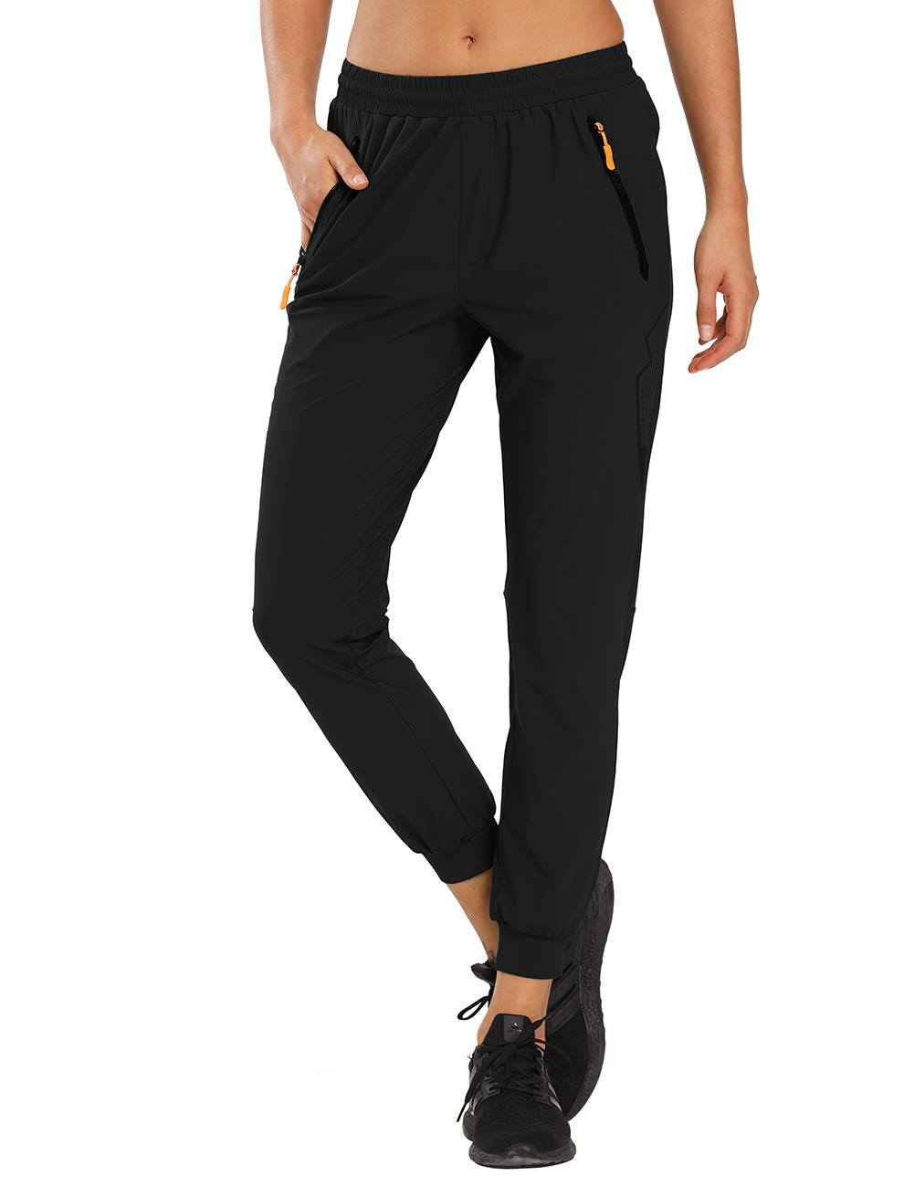 MOCOLY Women's Running Pants Athletic Joggers Sweat Pants Lightweight Hiking Cargo Sports Track Pants Zipper Pockets