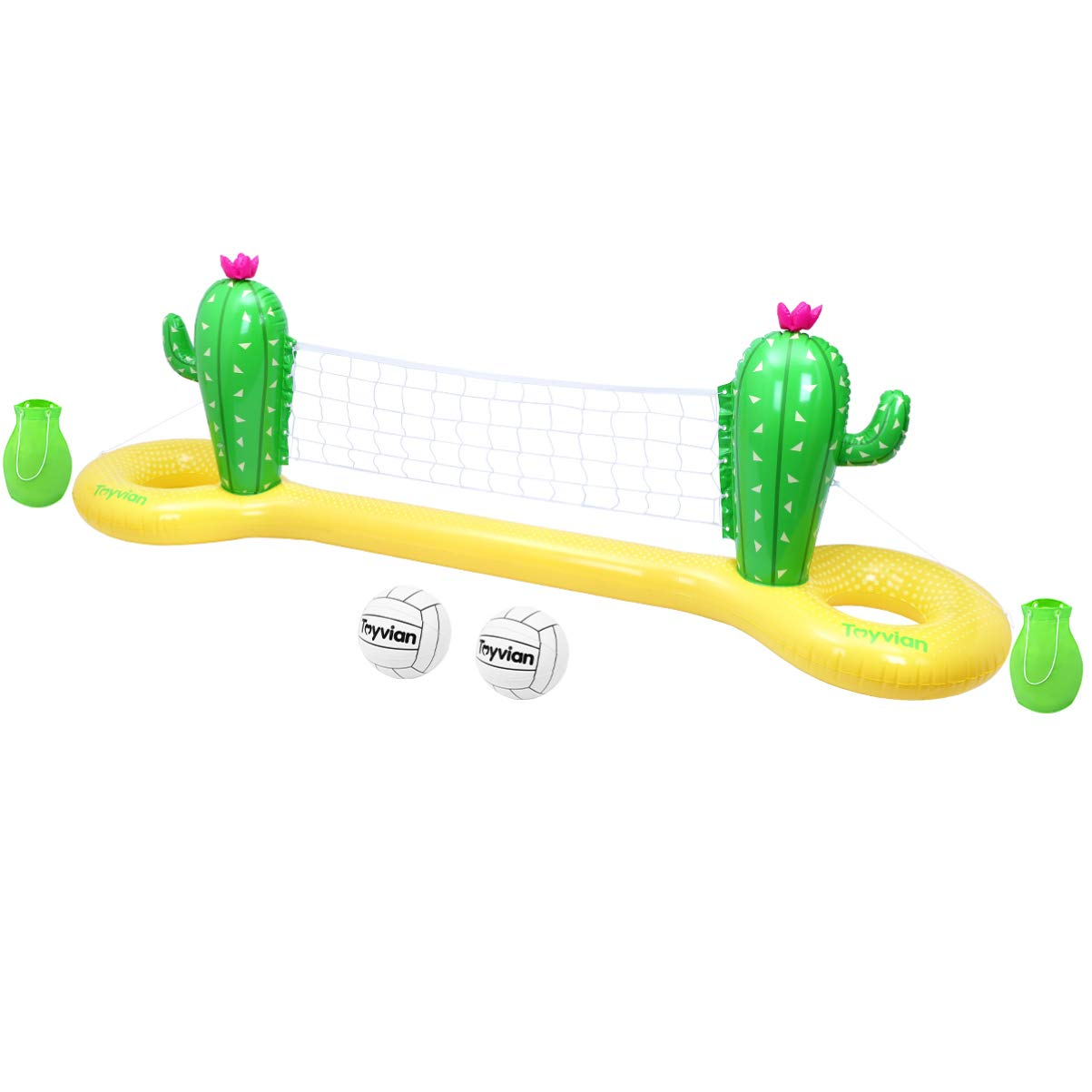 Toyvian Inflatable Pool Volleyball Set,Cactus Floating Volleyball Net for Pool Toys,Swimming Pool Volleyball Game Summer Party(118Inchx28Inchx39Inch)