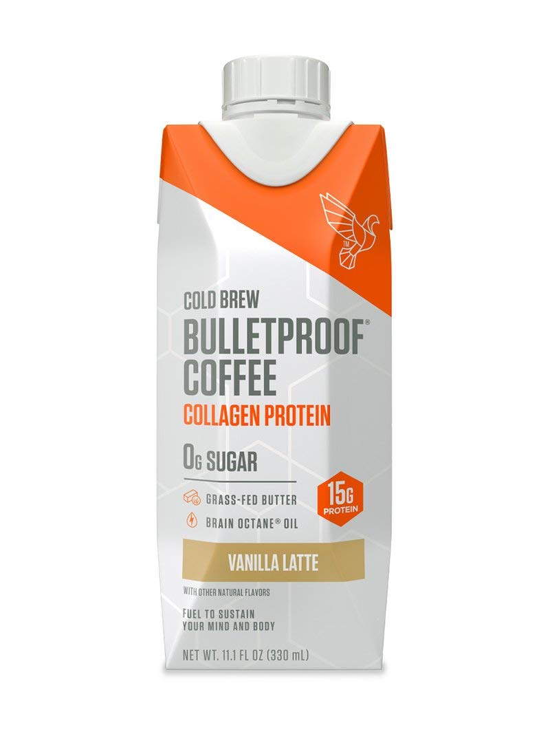 Bulletproof Vanilla Cold Brew Coffee Plus Collagen Protein Peptides, Keto Diet Friendly, Sugar Free, non-GMO, organic, with Brain Octane oil and Grass-fed Butter (Coffee + Collagen)(12-Pack)