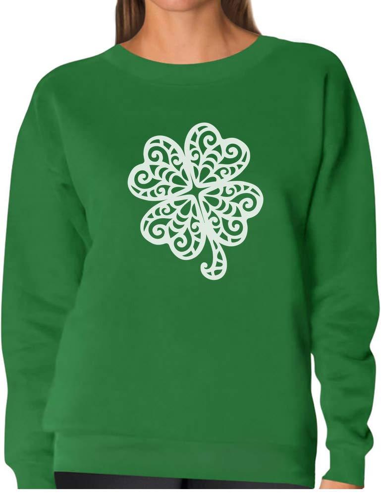 Lace Clover Print for St. Patrick's Day Irish Shamrock Women Sweatshirt