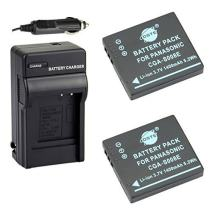 DSTE Replacement for 2X CGA-S008 CGA-S008E Battery + DC68 Travel and Car Charger Adapter Compatible Panasonic Lumix DMC-FX520 SDR-S25 S26 FS20 FX37 FX55 FX500 as DMW-BCE10 VW-VBJ10E BP-DC6