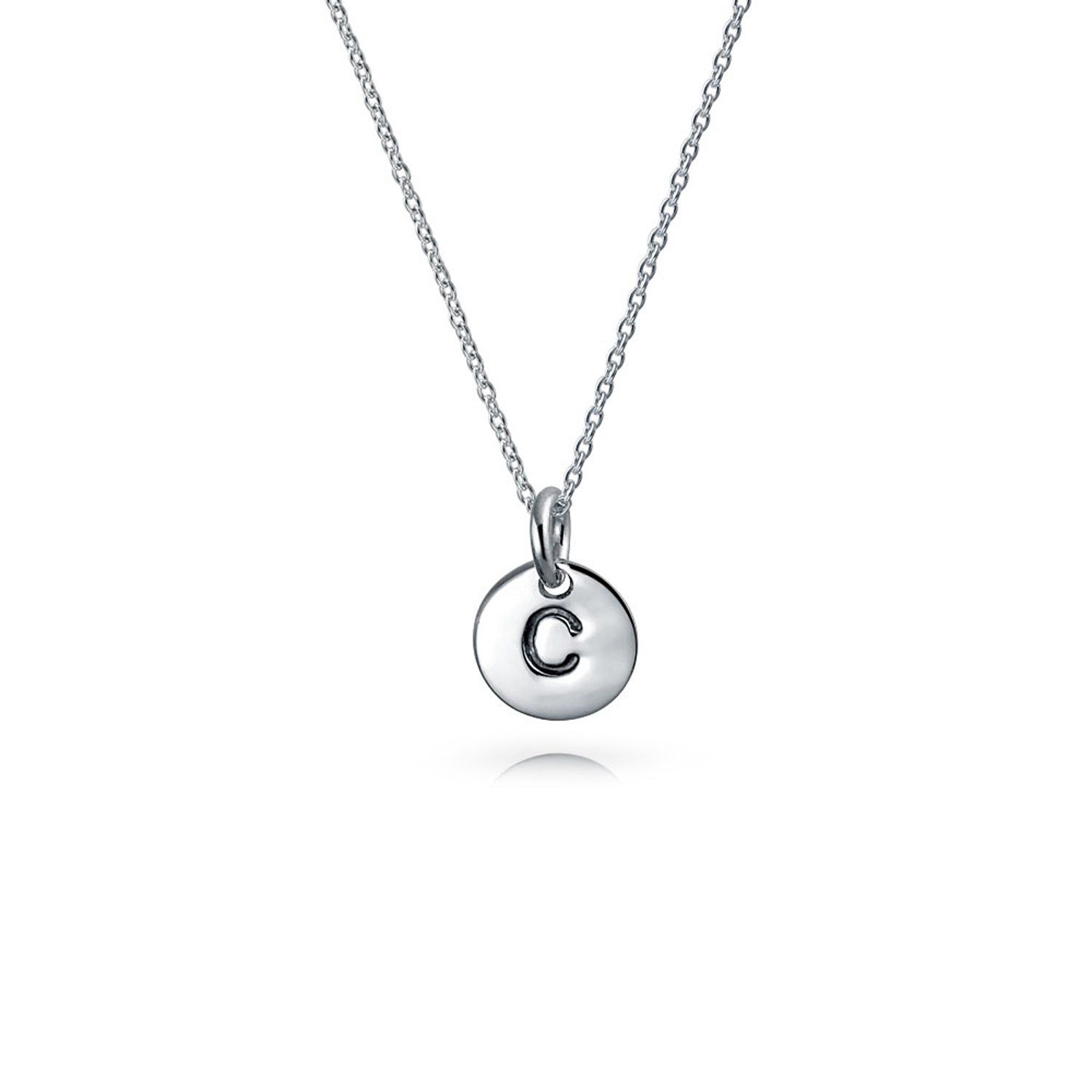 Tiny Minimalist Abc Round Disc Block Letter Alphabet A-Z Initial Pendant Necklace For Teen For Women 925 Sterling Silver