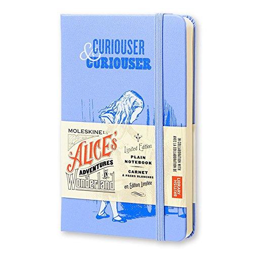 "Moleskine Limited Edition Alice in Wonderland Notebook, Hard Cover, Pocket (3.5"" x 5.5"") Plain/Blank, Powder Blue, 192 Pages"