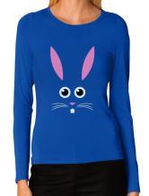 Funny Easter Bunny Face Shirt Cute Easter Women's Long Sleeve T-Shirt