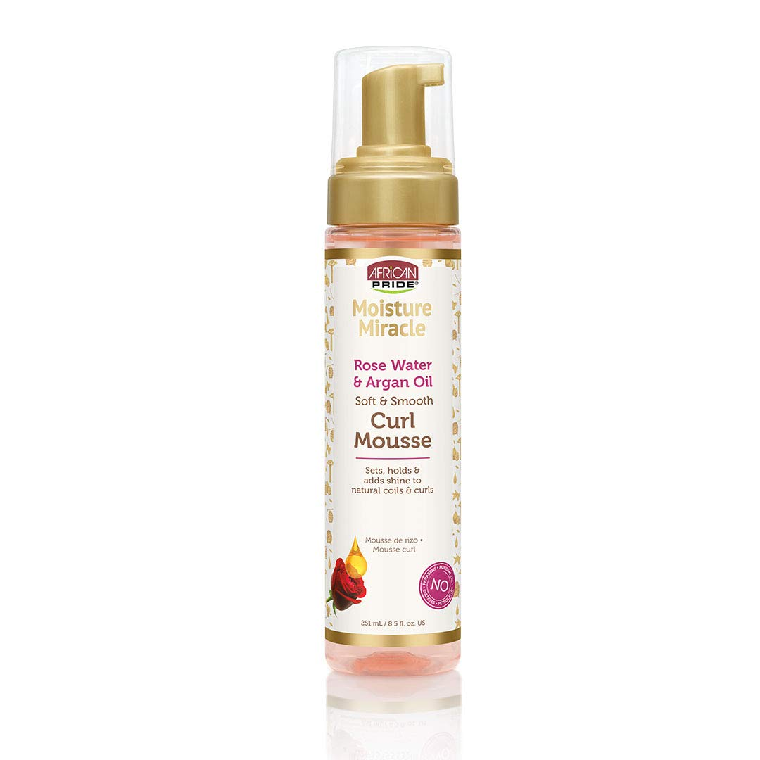 African Pride Moisture Miracle Rose Water & Argan Oil Curl Mousse - Flexible Hold, Enhances Curls, Creates Wave Patterns, No Residue, Deep Moisture, Adds Shine, Strengthens & Protects Hair, 8.5 oz