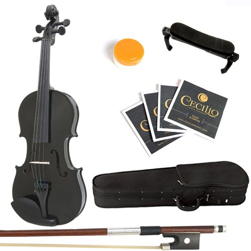Mendini By Cecilio Solid Wood Violin 1/2 Size, Black- Starter Kit w/Extra Strings Hard Case, Rosin, Bow - Stringed Musical Instruments For Kids & Adults