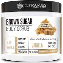 pureSCRUBS Premium Organic Brown Sugar VANILLA FACE & BODY SCRUB Set - Large 16oz, Infused With Organic Essential Oils & Nutrients INCLUDES Wooden Spoon, Loofah & Mini Exfoliating Bar