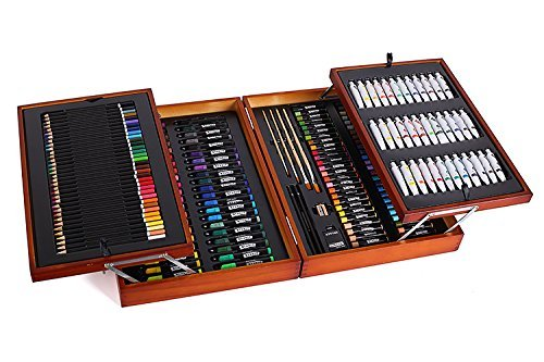 Mont Marte 174-Piece Deluxe Art Set, Art Supplies for Painting and Drawing, Art Kit in Wood Box Includes Acrylic, Oil, Watercolor Paints, Oil Pastels, Color Pencils
